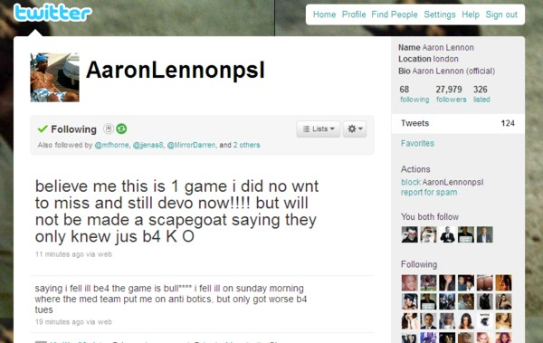 Aaron Lennon has a rant on Twitter