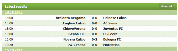 Serie A 16 October 2011